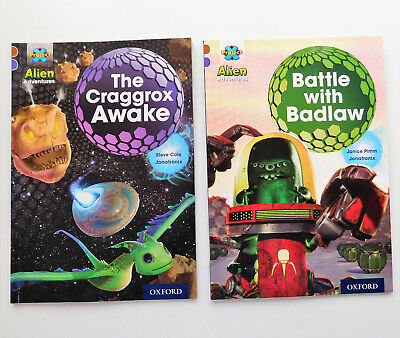 2 childrens books Battle with Badlaw Craggrox Awake Alien Adventure easy readers