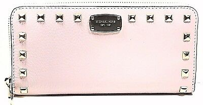 c3611f611a72 Michael Kors Studded Leather Zip Around Continental Wallet Clutch,Blossom