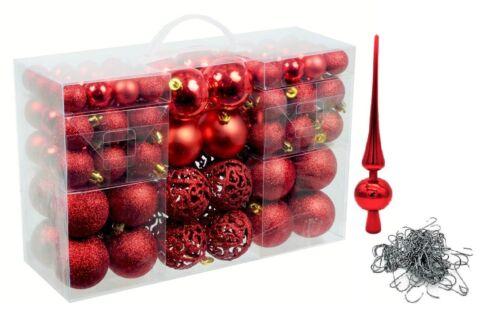 Set 100 Weihnachtskugel Rot mit Spitze und 100 Metallhaken Weihnachten