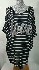 Lane Bryant Plus 18 20 Sweater Top black white stripe New w/ Tags sequined LOVE