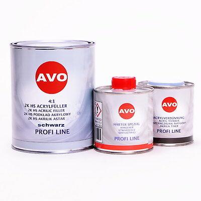 AVO 2K Dickschichtfüller Füller 4:1 schwarz mit Härter 1,5 Liter Set / A020310S