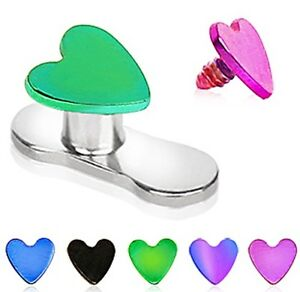 New-Anodised-Titanium-Heart-Dermal-Anchor-Head-Top-1-6mm-Surface-piercing-3mm