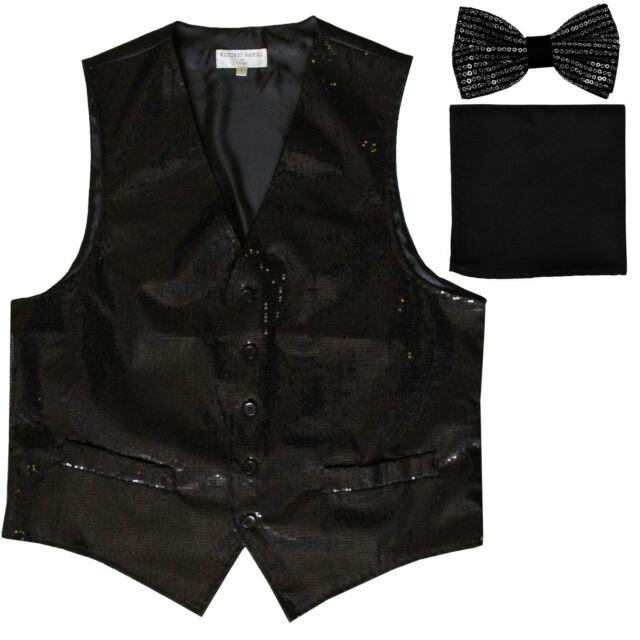 Sequin BLACK Tuxedo VEST Waistcoat & BOW TIE and SOLID Pocket Square HankIE SET