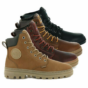 Palladium Mens Pallabousse Leather Lace Up Boots Walking Waterproof Work Shoes