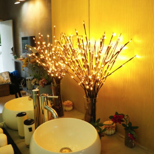 LED Willow Branch Lamp Floral Lights 20 Bulbs Christmas Party Xmas Home Decor UK