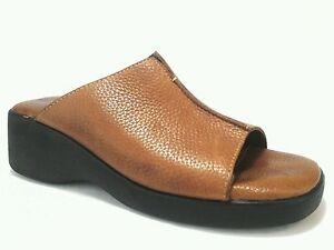 MINNETONKA-Womens-Cognac-Brown-Leather-Wedge-Open-Toe-Slides-Sandals-US-9-EU-39