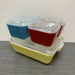 Pyrex-Primary-Colors-Refrigerator-Dish-Set-2-Red-501-Blue-502-amp-Yellow-503