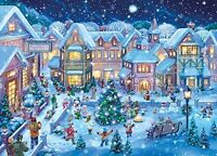 Holiday Village Square Christmas Cards - Box Of 15