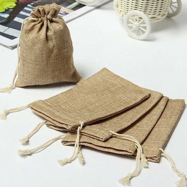 5pc Mini Rustic Burlap Pouch Sack Drawstring Tie Gift Bags Wedding Parties Favor