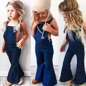 Boutique Toddler Kids Girls Denim Strap Bib Pants Romper Jumpsuit