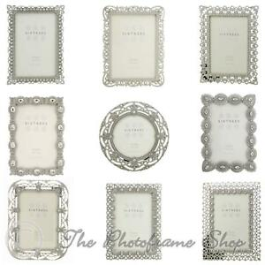 Vintage-Ornate-silver-photo-frames-beads-amp-crystals-4x4-6x4-7x5-inch-pictures