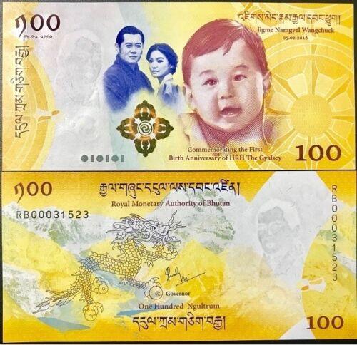 BABY P 37 UNC NO FOLDER LOT 10 PCS BHUTAN 100 NGULTRUM 2016 2018 COMM