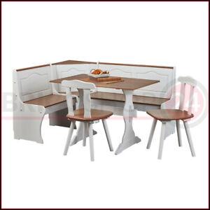 Panca Angolare In Legno Massiccio.Tavolo Con Giro Panca Angolare Noce Bianco Sedie In Legno Ad Angolo Contenitore Ebay