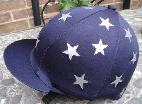 Silver Mini Stars avec ou sans pompon Équitation Chapeau soie tête Cap couverture bleu marine