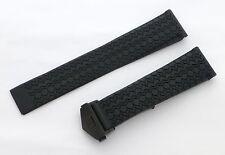 22mm Carrera Monaco Rubber Band Strap w/ PVD Black Deployant Clasp for TAG Heuer