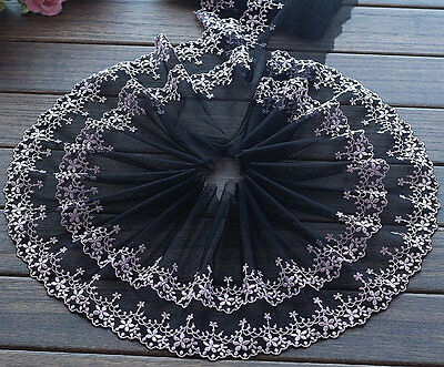 """2 Yards Lace Trim 2 Layers Light Pink Floral Embroidered Black Tulle 7.48"""" width"""