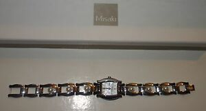 MISAKI-Ladies-quartz-Watch-stainless-steel-with-Pearls-new