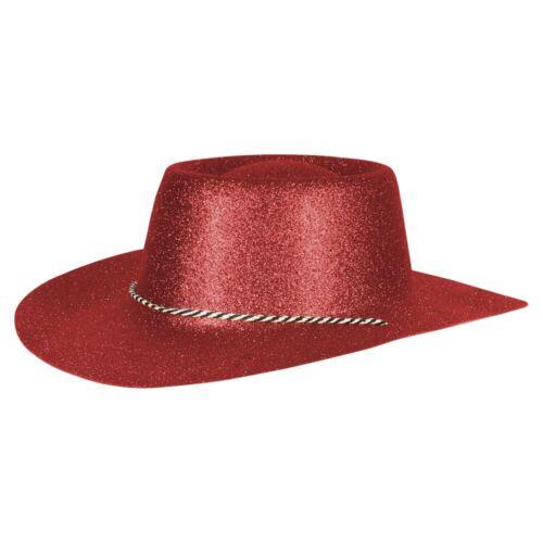Texas Western PARTY CAPPELLO SCERIFFO MASCHERA CAPPELLO-GLITTER look rosso scuro