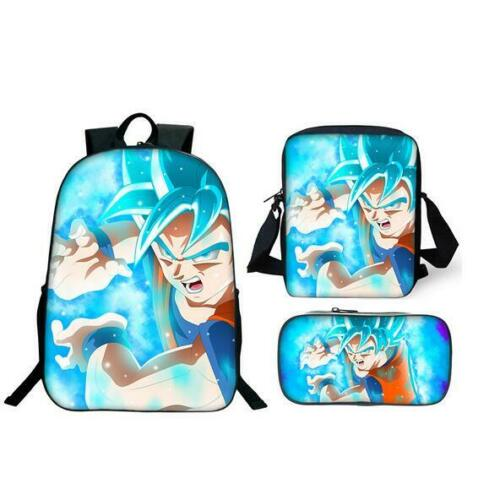 Mens Dragon Ball Super God Blue hair Combat Backpack Satchel Student Pen Bags