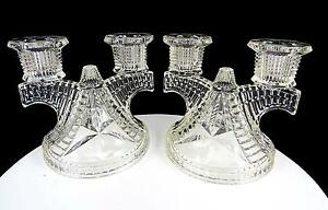 """FEDERAL GLASS 2 PIECE CLEAR WIGWAM DOUBLE LIGHT 4 1/2"""" CANDLE HOLDERS 1938-1945"""