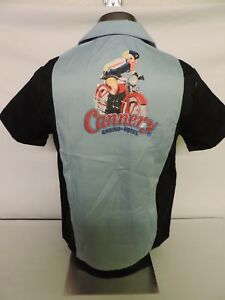 CANNERY-Casino-amp-Hotel-Las-Vegas-Bowling-BLUE-SHIRT-PIN-UP-GIRL-Motorcycle-XL