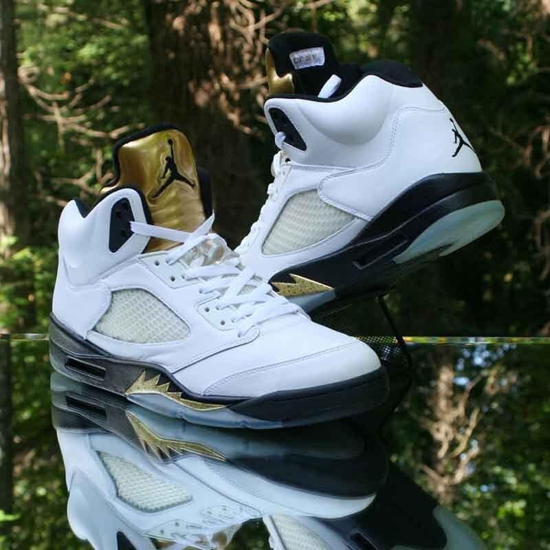 Nike Air Jordan 5 Retro Olympic Gold Coin White Black 136027-133 Size 13