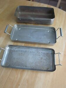 Fish-Poacher-Seafood-Steamer-Vintage-3pc-Copper-Lined-Pan-Lid-Strainer-Rack-13-034