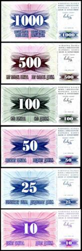 BOSNIA SET 6 PCS 10 25 50 100 500 1000 DINARA P 10 11 12 13 14 15 UNC