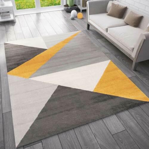 Salon Chambre Couloir Tapis Géométrique Motif Chiné jaune