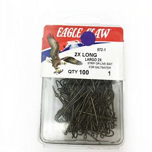 2X Long Plain Shank #3016 Eagle Claw 072-1 Long Shank Hook Size 1 Forged