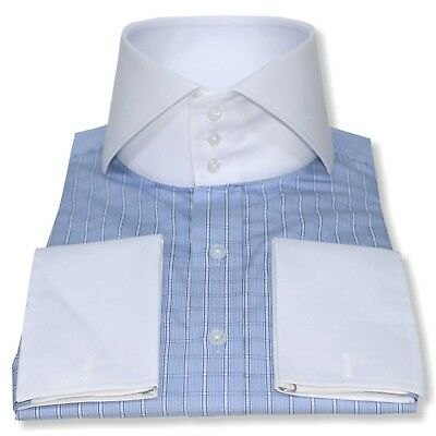 High collar shirt White collar cuff 3 buttons Mens Bankers Cotton Blue Checks