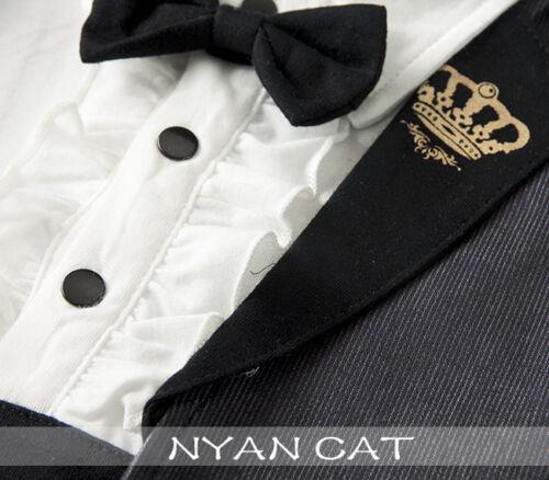 NEW Baby Boy Short Sleeve Tuxedo Smart Romper w// bow tie Size 00.0.1 grey black
