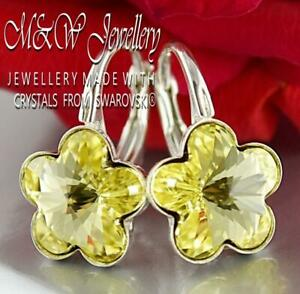 925-Sterling-Silver-Earrings-Crystals-from-Swarovski-10mm-FLOWER-Jonquil-F