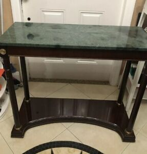 """Details about The Bombay Company Marble Granite Top Table 1989 Foyer Front  Entry 35"""" X 14"""""""