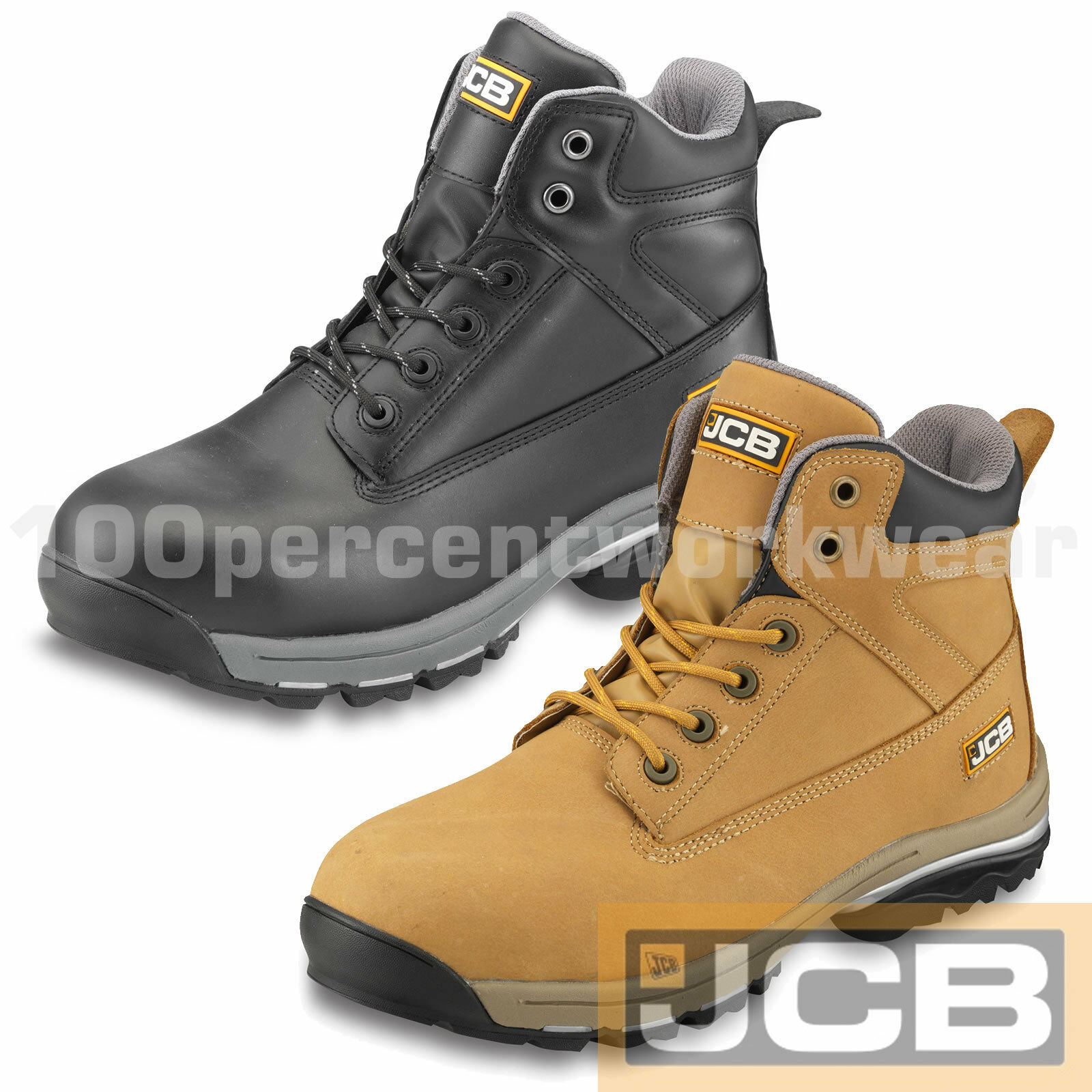 JCB WORKMAX Safety Chukka Work Stiefel schuhe Hiking Leather Steel Toe Cap Mid Sole