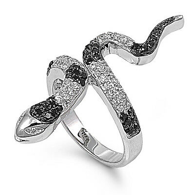 .925 Sterling Silver Fashion Snake Ring with Clear & Black CZ Size 5 6 7 8 9 10