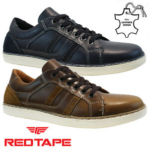 mens red tape leather lace up walking driving running