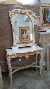 Arredare Soggiorno E Salotto.Consolle E Specchio In Legno Panna E Oro Entratina Arredo Casa