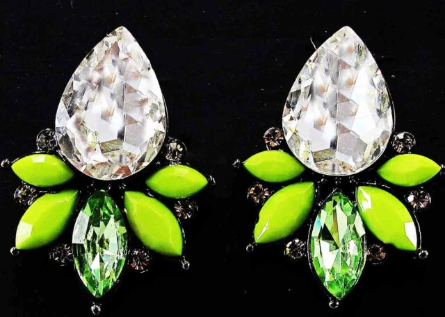 Fashion  Handmade Women Lady Elegant Crystal Rhinestone Ear  Stud Earrings 27mm