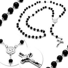 Halskette Rosenkranz Kreuzkette Holz Perlen Schwarz Silbern Perlenkette Jesus