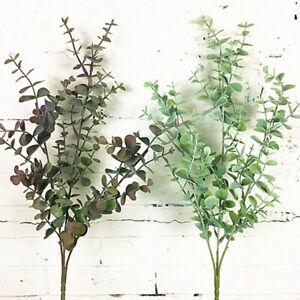 Artificiel-Plantes-Faux-Argent-Feuille-Eucalyptus-Vert-Fleurs-Decor-Maison-Fete