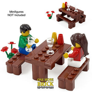 Lego Picnic Table - With park bench, flowers, glasses + alternate ...