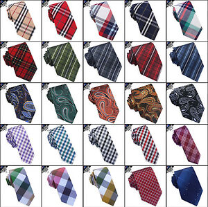 Mens-Tartan-Tie-Check-Ties-Plaid-Men-039-s-Paisley-Skinny-Crosshatch-Gingham
