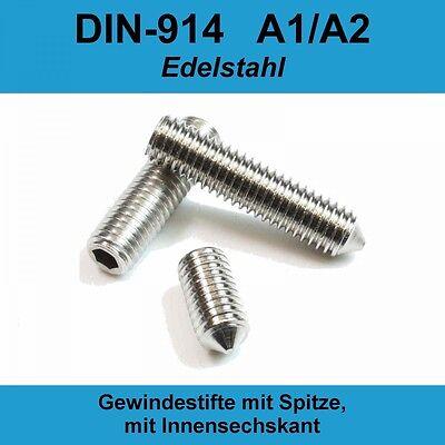 Gewindestifte DIN 914 Innensechskant+Spitze A2 25 Stück M5X16 Madenschrauben
