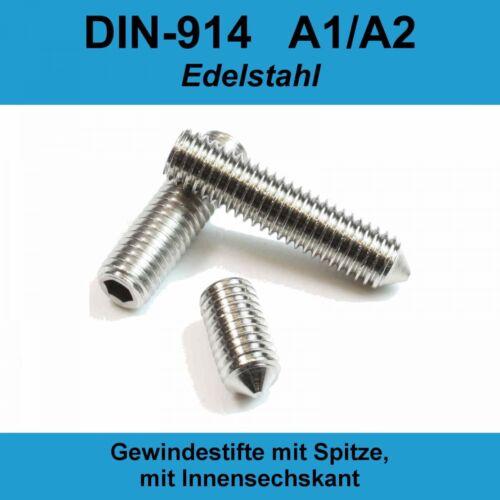 M5 DIN 914 A2 Gewindestifte Spitze Innensechskant Madenschrauben Edelstahl M5x