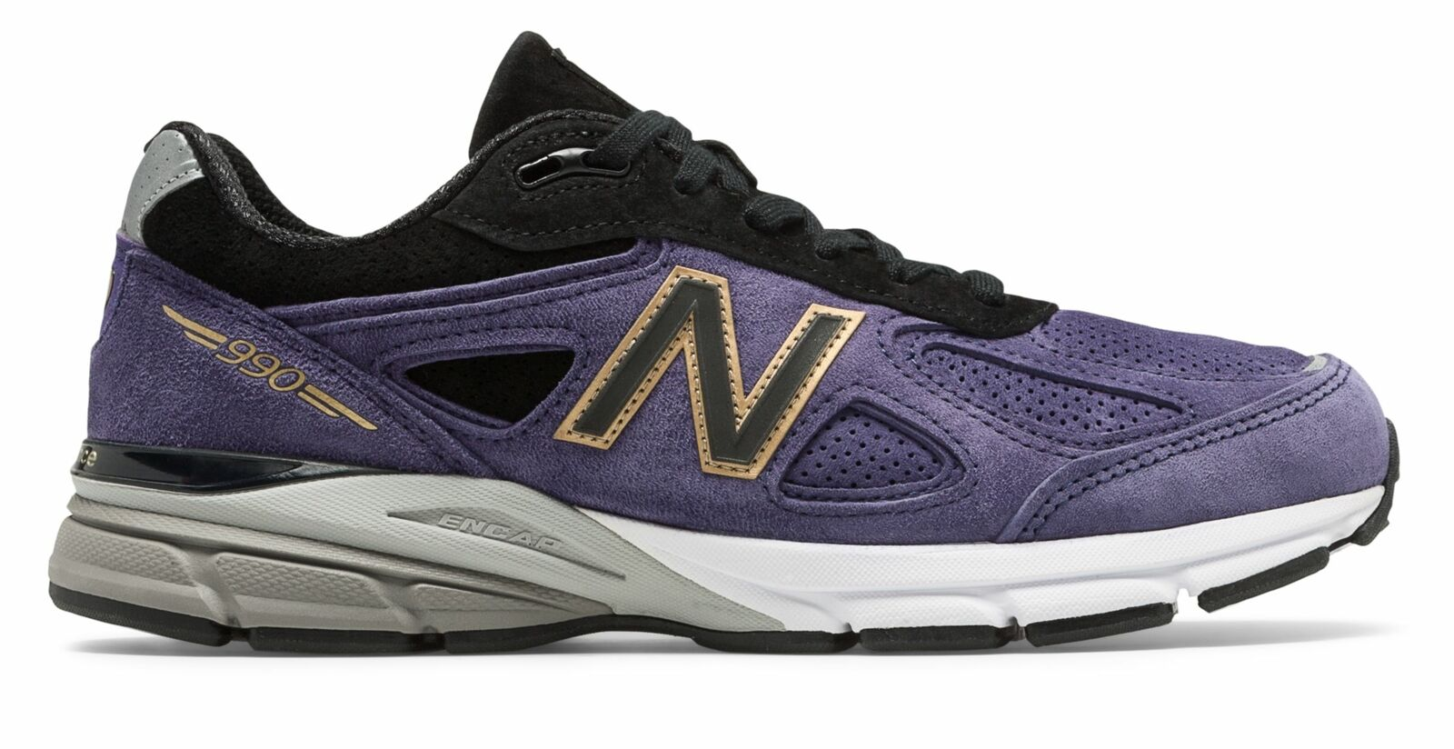 Hecho para hombre 990V4 New Balance en EE. UU. Zapatos Morado Con Negro
