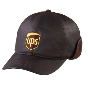 Image is loading UPS-UNITED-PARCEL-SERVICE-BROWN-LEATHERETTE-EAR-FLAP- a72da9aa00e7