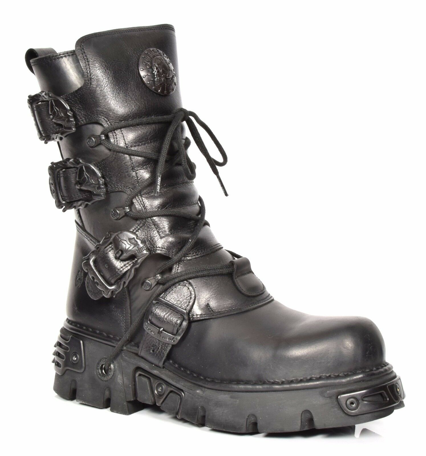 New Rock Leather Leather Leather Boots Lace up shoes Retro Style Skull Buckle Design Plain Black 0e8bf2