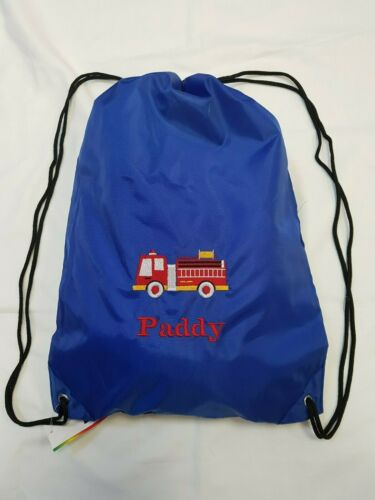 Personalised embroidered fire engine drawstring bag swimming PE nursery gym name
