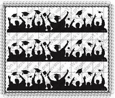 Graduation Silhouette ~ Edible Cake Topper ~ 1/4 Sheet Designer Strips ~ D485